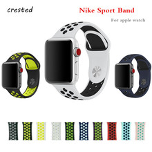 CRESTED Silicone strap for apple watch band 42mm 38mm iwatch 3 2 1 watchband sport Rubber bracelet wrist band for NIKE colorful(China)