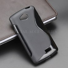 Black Color S-Line Anti Skidding Gel TPU Slim Soft Case Back Cover For LG Optimus F60 Mobile Phone Rubber silicone Cases(China)