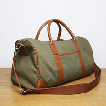LAN men's canvas bag leather fashion sports bag brand luggage