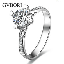 Romantic Classic Real Diamond Wedding Ring For Women GVBORI 18K White Gold Ring Heart Jewelry Shining  Fine Jewelry Anniversary