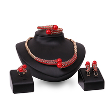 Cindiry Unique Red Rhinestone Ring Bracelet Necklace Earring Sets For Women Wedding Jewellery Jewelry Sets parure bijoux P19