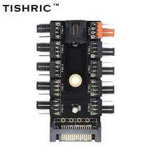 TISHRIC Newest Black 1 to 10 PC Cooler Cooling Fan Hub Splitter Cable Pwm SATA 12V Power Supply Speed Adapter Computer Mining(China)
