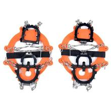 1Pair Ice Snow Shoe Boot Spikes 12-teeth Grips Crampons Cleats Chain Anti-Slip Hiking WIth BandageClimbing Accessories#