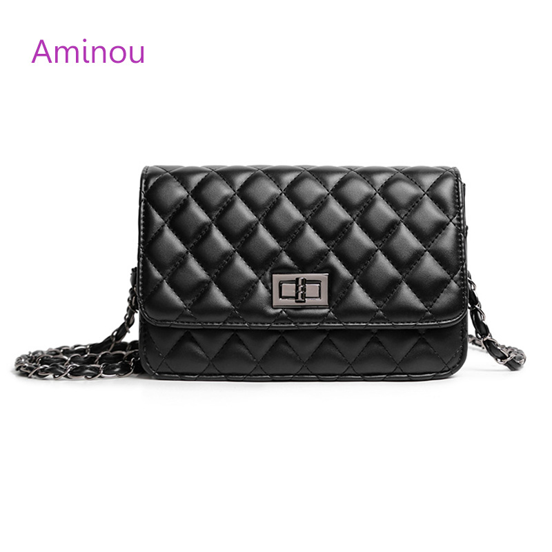 High Quality Gold Chain Flap Bag Fashion Women Quilted Plaid Shoulder Bags Vintage Black Leather Ladies Crossbody Bag Girl