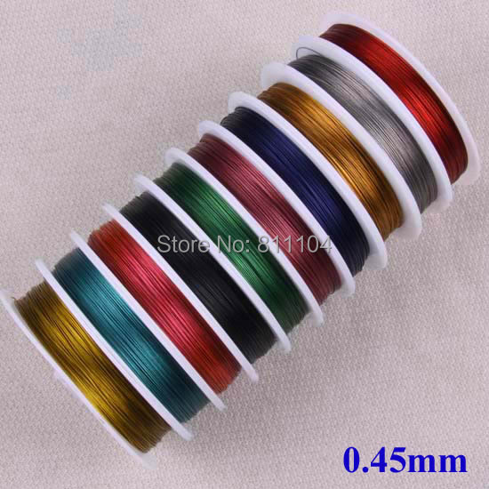 0.45mm Multi-color Tiger Tail Beading Wire Jewerly Cord Nylon Coated Stainless Steel Wire String Jewelry Making 20 Rolls/lot