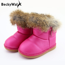 2016 Children's Real Rabbit Fur Ankle Snow Boots EU21-30 Kids Shoes Girls Boots Warm Plush Waterproof Winter Baby Shoes CSH224