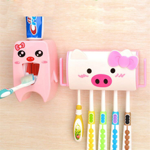 Fashion Cartoon Children Automatic Toothpaste Dispenser +Toothbrush Holder Set Family Set Wall Mount Rack Bath Oral Wholesale(China)
