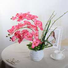 Fashion Orchid Artificial Flowers DIY Artificial Butterfly Orchid Silk Flower Bouquet Phalaenopsis Wedding Home Decoration(China)