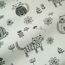 50*148cm cat cotton hemp print linen cloth diy table cloth curtain small canvas handmade fabric