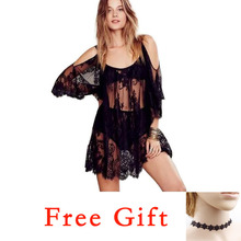 Women Sexy Beach Lace Dress Sarong crochet Batwing Sleeve Ladies Summer Loose solid black Boho white Plus Sizes Vestidos 20/!