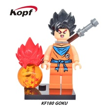 Super Heroes Cartoon Comics Dragon Ball Son Goku Vegeta With Two Color Hat Bricks Model Building Blocks Children Gift Toys KF180