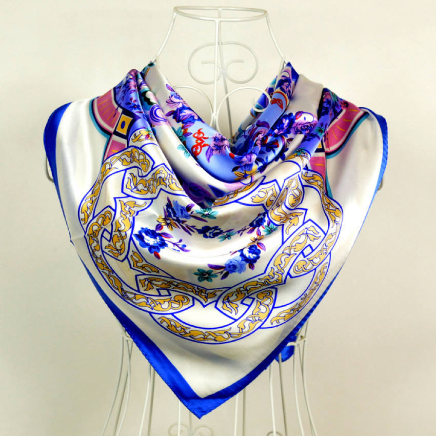China Style Blue White Flower Silk Scarf Printed For Women Fashion Brand 100% Silk Scarves Wraps 90*90cm Spring Ladies Scarves(China (Mainland))