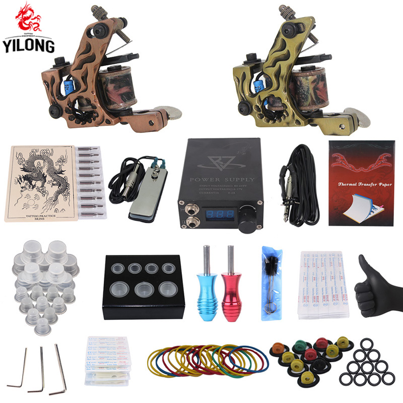 Professional Complete Tattoo Kit 2 Top Machine Gun 50 mix ink cup 10 Needle Power Supply 3000246-13<br>