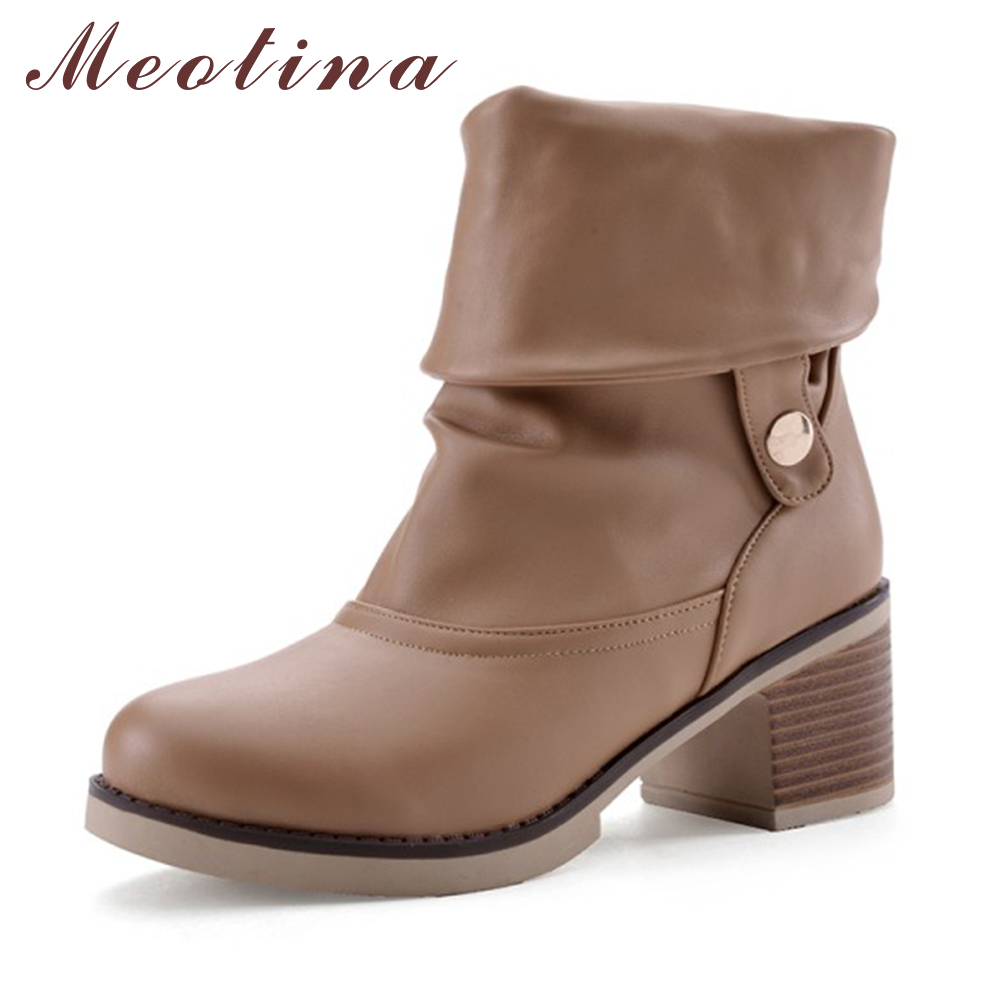 Meotina Women Boots Winter Chunky Heel Western Boots Ladies Ankle Boots Large Size 34-43 Female Autumn Shoes 2017  White Brown <br>