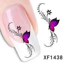 1 Sheet 3D Design Purple Butterfly Flower Nail Water Decals Transfer Stickers Watermark Decoration DIY