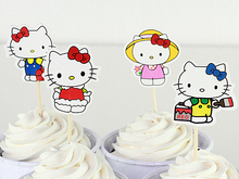 24 Pieces/lot Cartoon Hello Kitty Fashion Creative Kawaii kids party Birthday decoration Cake Toppers Accessory BJ69