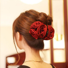 Korean Beauty Ribbon Rose Flower Bow Jaw Clip Barrette Hair Claws for Women Silk Hair Accessories Big Large Headwear Wine Red