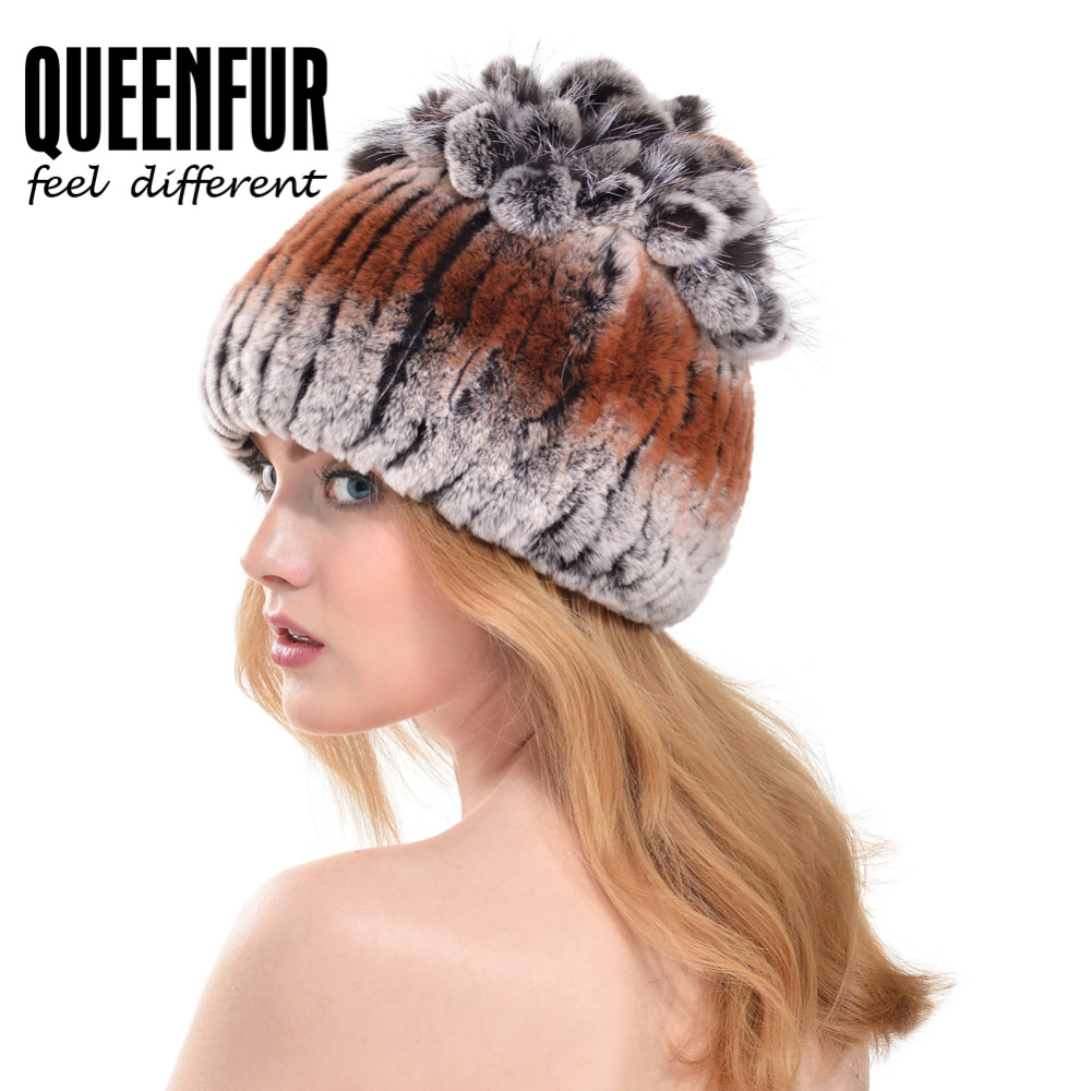 QUEENFUR 2017 New Arrival Natural Rex Rabbit Fur Caps With Fox Fur Flower Stripe Top Hat Hot Female Multicolor Beanies CapОдежда и ак�е��уары<br><br><br>Aliexpress
