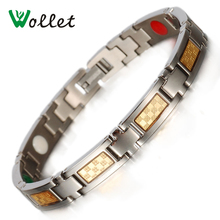 Wollet Jewelry Couple Gold Foil Health Healing Energy Negative Ion Germanium Infrared Tourmaline Titanium Bracelet Men Woman