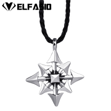 Men's Boy's Silver Gothic Magic Chaos Star Pewter Pendant with Black Necklace Jewelry LP212