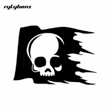 half price 2nd Rylybons skull flag creative car sticker glass window wall decals 16x11.5 cm reflective white/black colors(China)