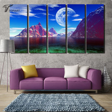 Home Decor Painting Calligraphy 5 Piece Canvas Art Blue Sky The Moon And Mountain Decorative Wall Printings Night Landscape Arts