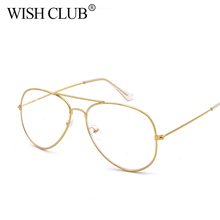 2017 New Style Clear Glasses Women Classic Optics Glasses Pilot Metal Frame Reading Glasses Transparent Lens Men gafas oculos