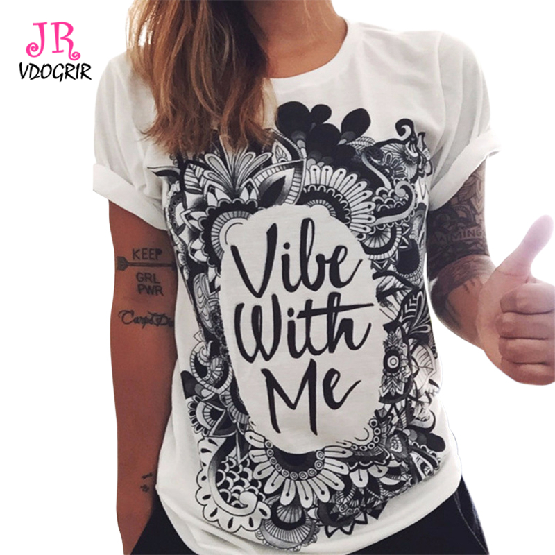 693b6060fb31d VDOGRIR Vintage Buddha Letter Print T-shirts For Women Female O-neck Tops  Pullover