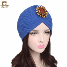 10pcs/lot New Fashion Women Cotton Jewel Accessory Turban Head Wrap Band Sleep Hat Indian Caps Scarf Hats Ear Cap(China)