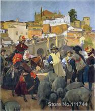 paintings by Joaquin Sorolla y Bastida The Market beach art High quality Hand painted