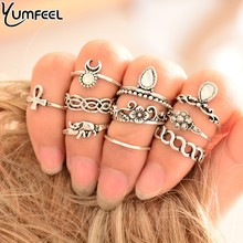 10pcs/Set Vintage Ring Set Unique Carved Antique Silver Gold Anillos Crystal Knuckle Rings for Women Boho Jewelry Small Ring