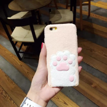 1 Pc/lot Soft TPU Korea Plush Back Cover Cortex Cat Claw Designing Cell Phone Case For iPhone 7 6s Plus