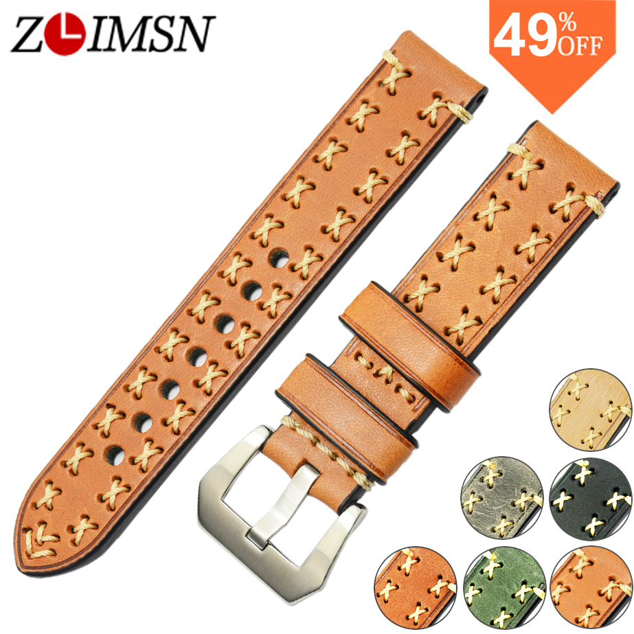 ZLIMSN Italy Leather Watchbands Strong Mens Watch Band Strap Stainless Steel Buckle Clasp Black Belt 20mm 22mm 24mm 26mm relogio<br><br>Aliexpress