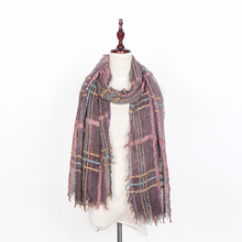 New national art style fresh color vertical striped scarf female lengthened cotton scarf scarf