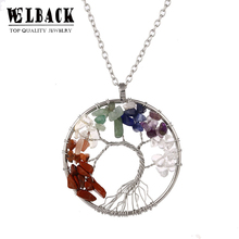 Welback new style whole life tree with root classic trendy plant rong heart rhinestone long link chain women chokers necklaces