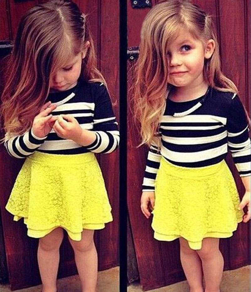 children girls boutique clothing sets autumn kids clothes Long Sleeve black white Stripe Top+yellow lace tutu short Skirt DY125A<br><br>Aliexpress
