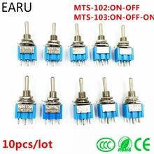 10Pcs DIY Toggle Switch ON-OFF-ON / ON-OFF 3Pin 3 Position Latching MTS-103 MTS-102 AC 125V/6A 250V/3A Power Button Switch Car(China)