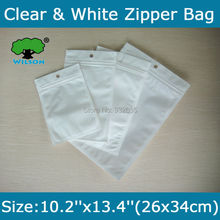 Free Shipping 50 pcs 10.2''x13.4''(26x34cm) One Side White Clear Zip lock bag  Wholesale White/Clear electronic packaging