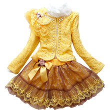 Children`s Dress Set Girls Princess Suit Baby Lace Coat+cotton Shirt+mesh Skirt 3pcs Clothing Hand-beaded High Quality 3y-7y