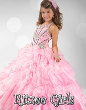 Vestido Longo De Princesa special price ball gown halter pink organza rhinestone ruffle keyhole back pageant flower girl dresses