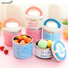 Cute Portable Hello kitty Lunch Boxs 1-2 Layers Thermal Bento Lunchbox Food Container PP+Stainless Steel Kids Food Container C(China)