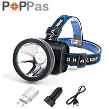 POPPAS 1000LM LED Headlamp Headlight Lamp Chips Camping Fishing Riding Rechargeable Cycling Head lamp cabeza Flashlight charger(China)