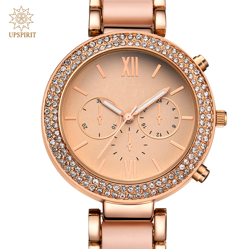 Women Business Wristwatches Fashion Alloy Rose Gold Quartz Watch Real Gold Waterproof Watch Wristwatch With Luxury Crystal Case<br><br>Aliexpress