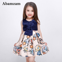 New Style 2017 Baby Girls Dresses Disfraz Infantil Navy Blue Floral Children Clothing Kids Summer Party Printing Flower Costume(China)