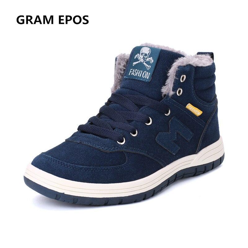 GRAM EPOS Plus size 47 48 Suede Leather Men Ankle Boots Fashion Warm Fur plush Male Boots Winter Men Booties Brand Men Shoes<br>