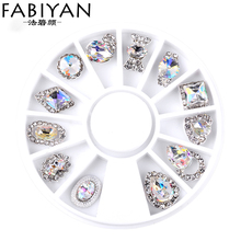 Nail Art Wheel Rhinestone Diamond Gems Metal AB Crystal Glitter 3D Tips Accessoires Jewelry Manicure Tools Decoration DIY Design(China)