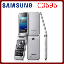Samsung C3595 Unlocked 3G WCDMA Black Big Buttons Stylish Flip Mobile Phone Refurbished phone High quality English Only