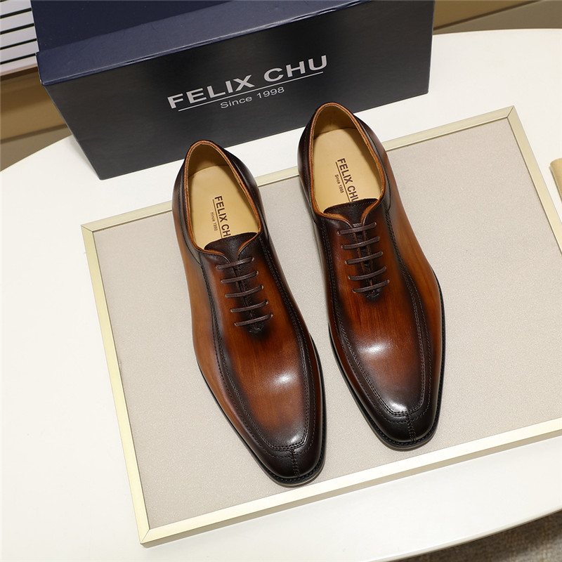 Formal Shoes Felix Chu Mens Dress Shoes Solid Colors In Calfskin Apron Toe Oxford Brown Black Genuine Leather Lace Up Mens Formal Shoes Ture 100% Guarantee