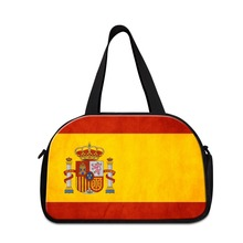 Flag of Spain Printed best ladies shoulder luggage travel bags with shoe pocket Russian sporty duffle bags weekend handbags(China)