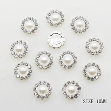 2017 New 10MM Fashion 10pcs/lot Round Silver Buttons Diy White Pearl Accessories Festival Decor Diameter Supplies For Wholesale